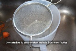 Use a strainer to filter the plant material away from water and cannabutter